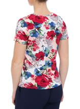 Anna Rose Botanical Short Sleeve Jersey Top Raspberry Floral - Gallery Image 3