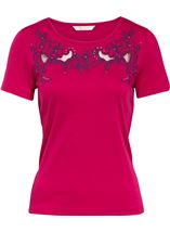 Anna Rose Short Sleeve Embroidered Top Raspberry - Gallery Image 1