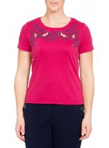 Anna Rose Short Sleeve Embroidered Top Raspberry - Gallery Image 2