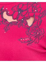 Anna Rose Short Sleeve Embroidered Top Raspberry - Gallery Image 4