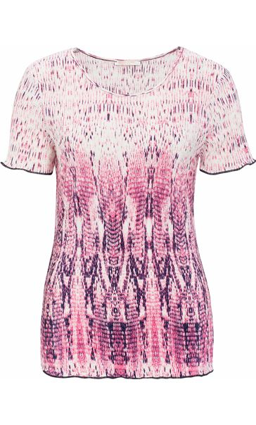Anna Rose Short Sleeve Pleated Print Top Raspberry/Navy