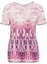 Anna Rose Short Sleeve Pleated Print Top Raspberry/Navy - Gallery Image 1