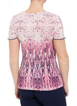 Anna Rose Short Sleeve Pleated Print Top Raspberry/Navy - Gallery Image 3