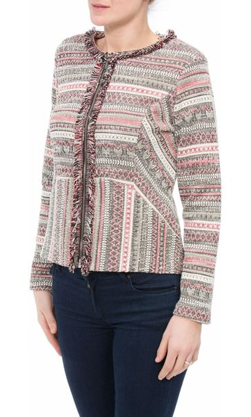 Patterned Unlined Zip Jacket Black/Red - Gallery Image 2