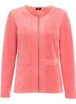 Suedette Laser Cut Zip Jacket Coral - Gallery Image 1