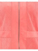 Suedette Laser Cut Zip Jacket Coral - Gallery Image 4