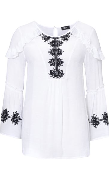 Embroidered And Ruffle Top White/Black