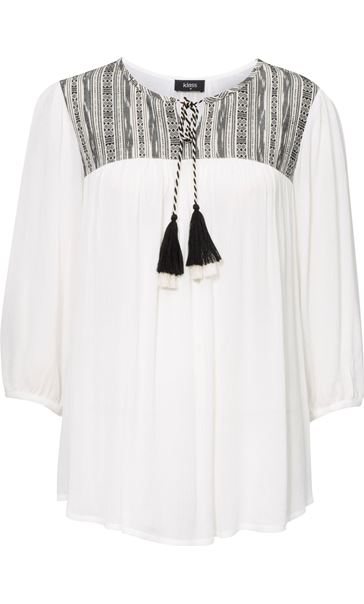Three Quarter Sleeve Tassel Top White