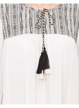 Three Quarter Sleeve Tassel Top White - Gallery Image 4