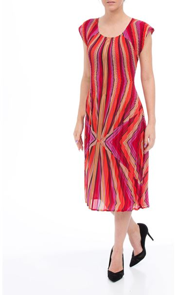 Striped Pleated Midi Dress Red/Coral