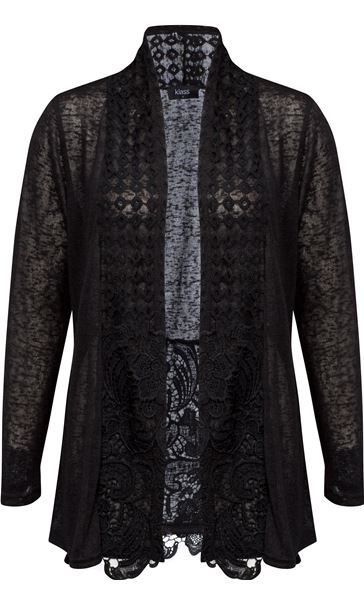 Long Sleeve Lace Trimmed Open Cardigan Black