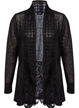 Long Sleeve Lace Trimmed Open Cardigan Black - Gallery Image 1