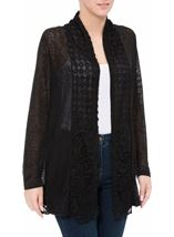 Long Sleeve Lace Trimmed Open Cardigan Black - Gallery Image 2