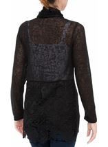 Long Sleeve Lace Trimmed Open Cardigan Black - Gallery Image 3