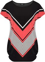 Short Sleeve Chevron Print Tunic Black/Coral - Gallery Image 1