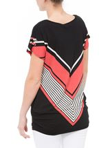 Short Sleeve Chevron Print Tunic Black/Coral - Gallery Image 3