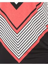 Short Sleeve Chevron Print Tunic Black/Coral - Gallery Image 4