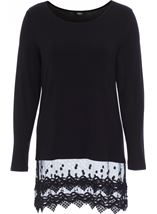 Longline Long Sleeve Lace Trim Jersey Top Black - Gallery Image 1