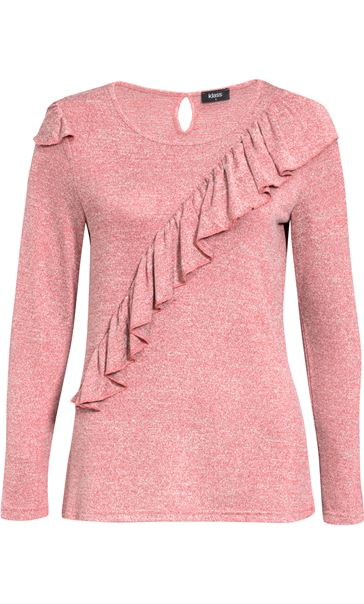 Long Sleeve Lightweight Frill Knit Top Coral