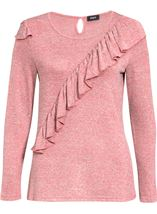 Long Sleeve Lightweight Frill Knit Top Coral - Gallery Image 1