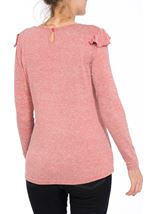 Long Sleeve Lightweight Frill Knit Top Coral - Gallery Image 3