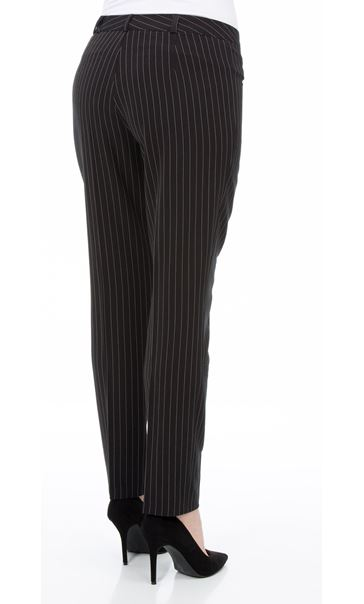 Pinstripe Narrow Leg Trousers Black/White - Gallery Image 3