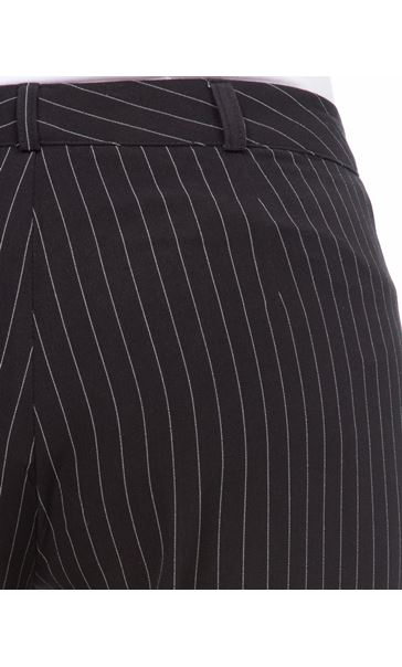 Pinstripe Narrow Leg Trousers Black/White - Gallery Image 4