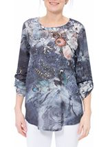 Embellished Floral Lightweight Tunic Midnight/Peach - Gallery Image 2