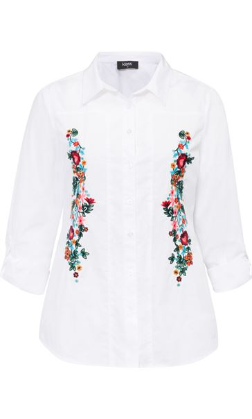 Floral Embroidered Cotton Blouse White