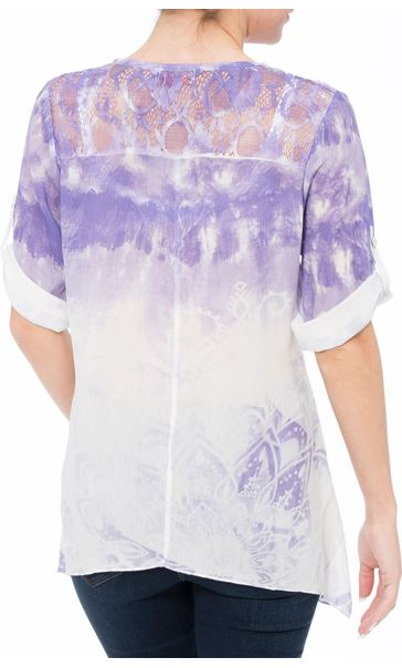 Anna Rose Embellished Lace Trim Top Ivory/Iris - Gallery Image 2