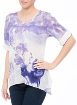 Anna Rose Embellished Lace Trim Top Ivory/Iris - Gallery Image 1
