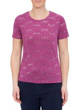 Anna Rose Textured Sparkle Short Sleeve Top Mauve - Gallery Image 2
