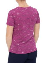 Anna Rose Textured Sparkle Short Sleeve Top Mauve - Gallery Image 3
