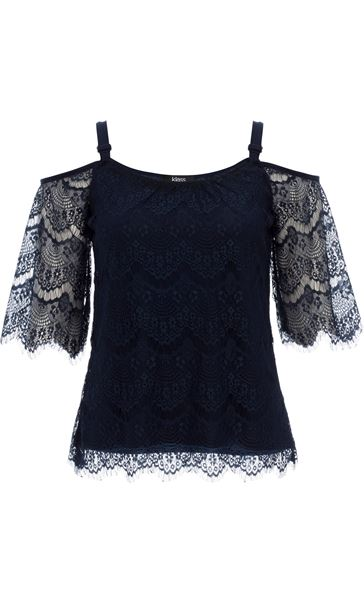Cold Shoulder Lace Top Midnight
