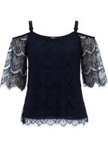 Cold Shoulder Lace Top Midnight - Gallery Image 1