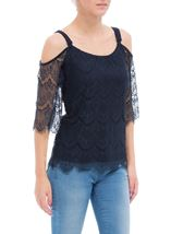 Cold Shoulder Lace Top Midnight - Gallery Image 2