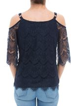 Cold Shoulder Lace Top Midnight - Gallery Image 3