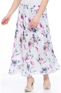 Anna Rose Floral Panelled Chiffon Midi Skirt