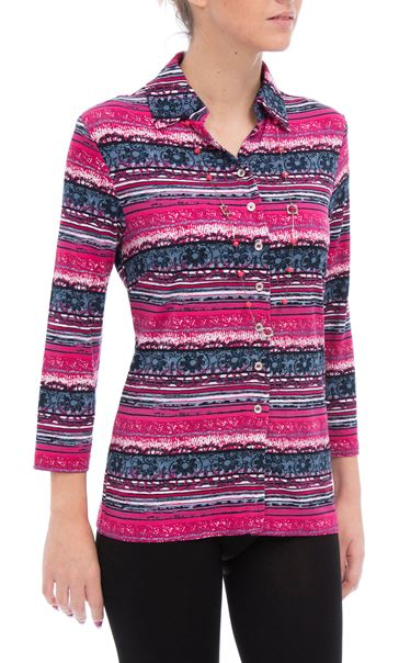 Anna Rose Printer Jersey Blouse With Necklace