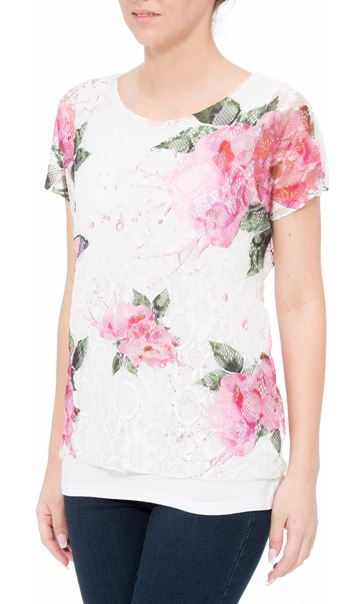 Anna Rose Garden Printed Lace Layered Top Pink Floral