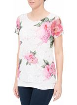 Anna Rose Garden Printed Lace Layered Top Pink Floral - Gallery Image 1