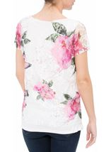 Anna Rose Garden Printed Lace Layered Top Pink Floral - Gallery Image 2