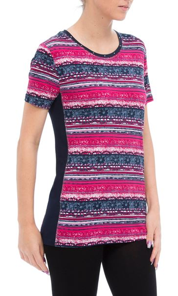 Anna Rose Short Sleeve Printed Jersey Top Navy/Raspberry