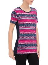 Anna Rose Short Sleeve Printed Jersey Top Navy/Raspberry - Gallery Image 1