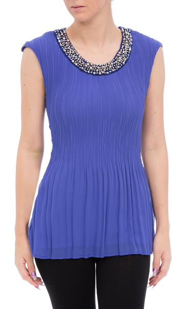 Anna Rose Embellished Sleeveless Pleat Top Iris