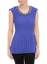 Anna Rose Embellished Sleeveless Pleat Top Iris - Gallery Image 1