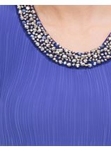 Anna Rose Embellished Sleeveless Pleat Top Iris - Gallery Image 3