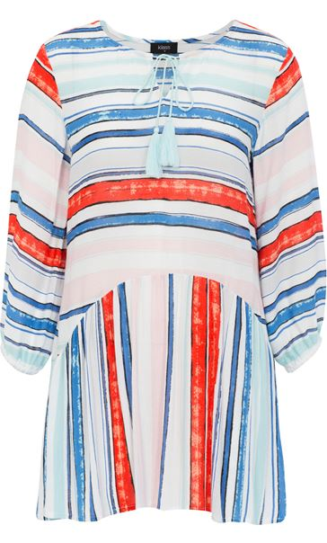 Three Quarter Sleeve Striped Crepe Top Blue/Aqua/Coral