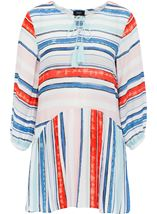Three Quarter Sleeve Striped Crepe Top Blue/Aqua/Coral - Gallery Image 1