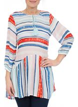 Three Quarter Sleeve Striped Crepe Top Blue/Aqua/Coral - Gallery Image 2